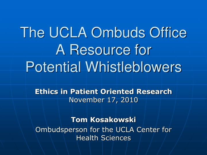 the ucla ombuds office a resource for potential whistleblowers n.