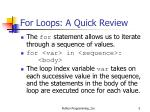 for loops a quick review