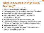 what is covered in pfa skills training