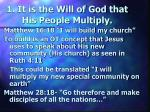 1 it is the will of god that his people multiply