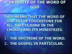 1 priority of the word of god