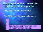 the gospel as the content for the church that is planted