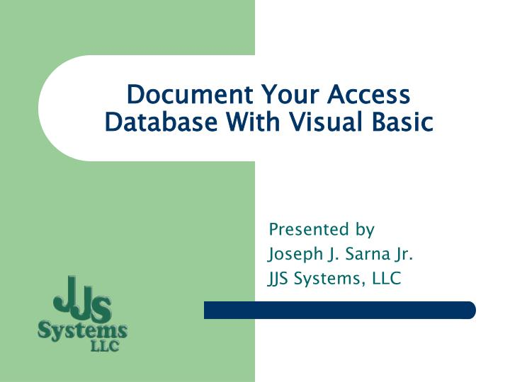 document your access database with visual basic n.