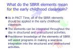 what do the sbrr elements mean for the early childhood classroom