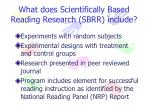 what does scientifically based reading research sbrr include