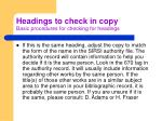 headings to check in copy basic procedures for checking for headings2