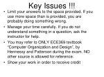key issues