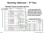 resolving addresses 2 nd pass