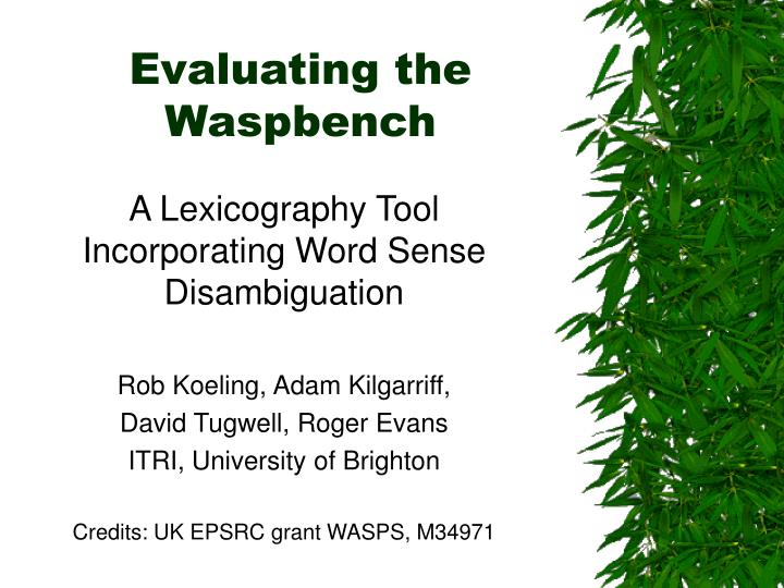 evaluating the waspbench n.