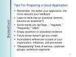 tips for preparing a good application