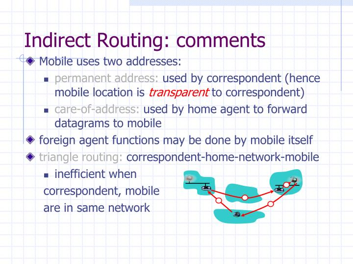 Indirect Routing: comments