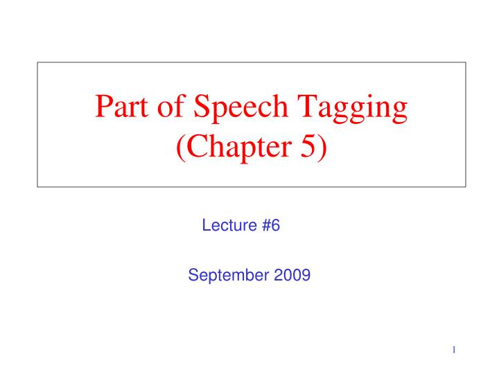 part of speech tagging chapter 5 n.