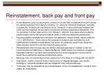 reinstatement back pay and front pay