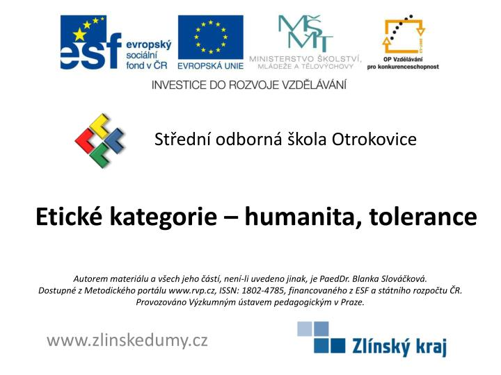 etick kategorie humanita tolerance n.
