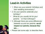 lead in activities