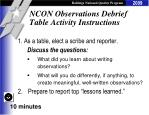 ncon observations debrief table activity instructions