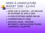 aides l agriculture budget 2008 6 6 m