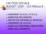 l action sociale budget 2009 153 millions