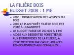 la fili re bois budget 2008 1 m