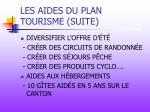 les aides du plan tourisme suite