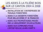 les aides la fili re bois sur le canton 2004 2008