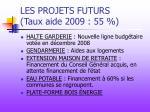 les projets futurs taux aide 2009 55