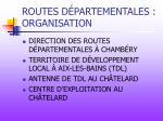 routes d partementales organisation