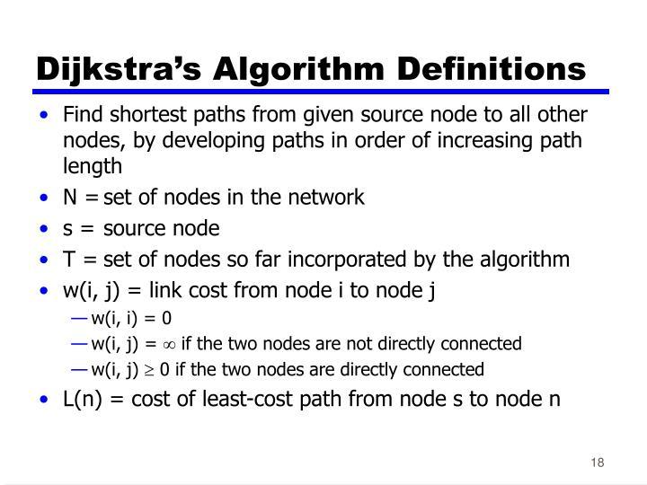 Dijkstra's Algorithm Definitions