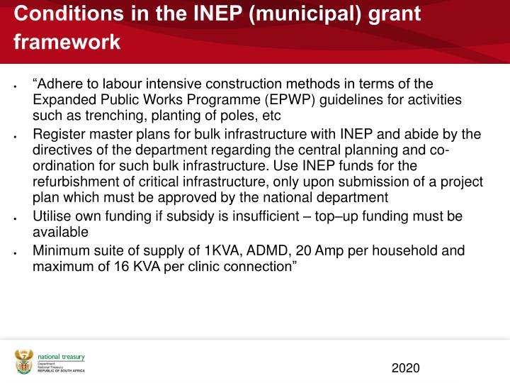 Conditions in the INEP (municipal) grant framework