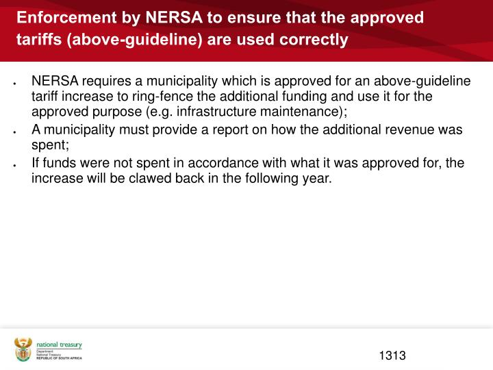 Enforcement by NERSA to ensure that the approved tariffs (above-guideline) are used correctly