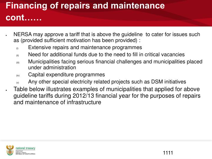 Financing of repairs and maintenance cont……