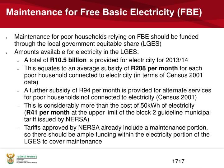 Maintenance for Free Basic Electricity (FBE)