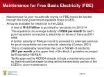 maintenance for free basic electricity fbe