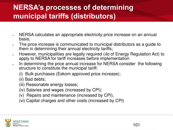 NERSA's processes of determining municipal tariffs (distributors)