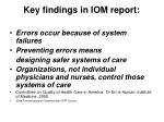 key findings in iom report