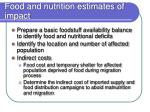 food and nutrition estimates of impact