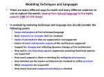 modeling techniques and languages