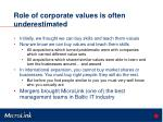 role of corporate values is often underestimated