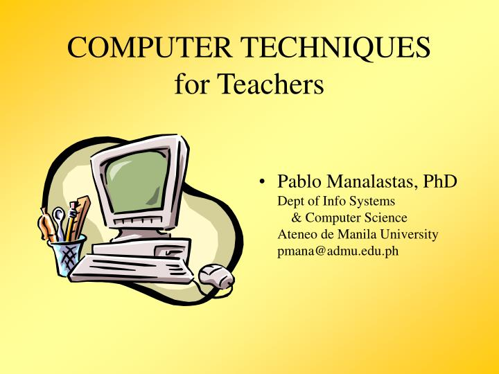 computer techniques for teachers n.