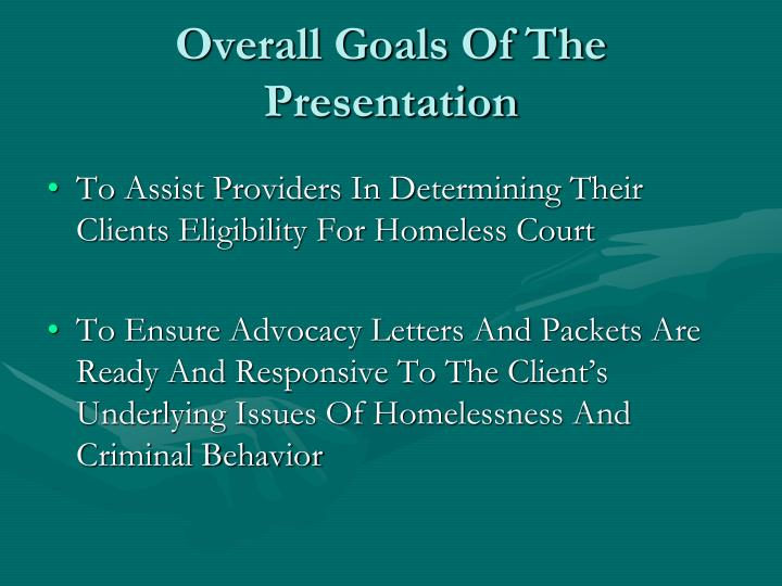 overall goals of the presentation n.