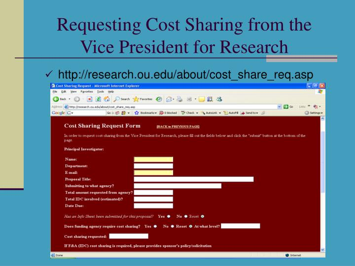 Requesting Cost Sharing from the Vice President for Research