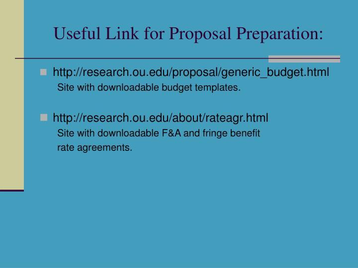 Useful Link for Proposal Preparation: