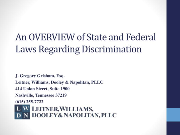 an overview of state and federal laws regarding discrimination n.