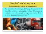 supply chain management gesti n de la cadena de suministros