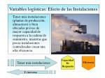 variables log sticas efecto de las instalaciones