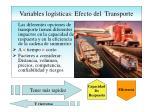 variables log sticas efecto del transporte