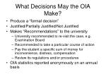what decisions may the oia make
