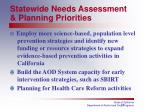 statewide needs assessment planning priorities