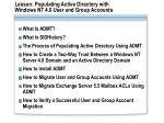 lesson populating active directory with windows nt 4 0 user and group accounts