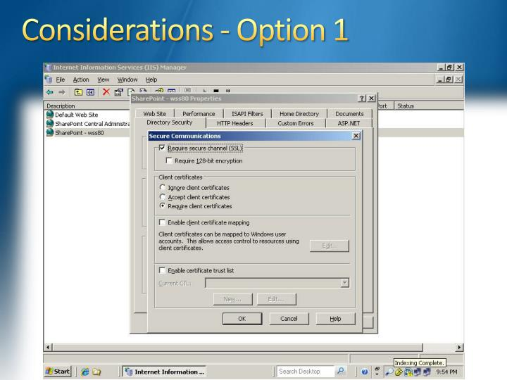 Considerations - Option 1